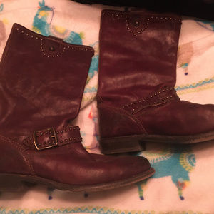 Frye Brown Leather Studded Boots